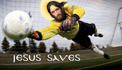Funny Jesus Saves Goalkeeper religious pun