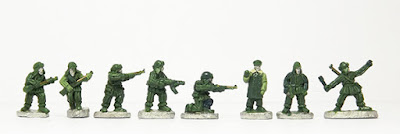 Advancing with rifle x 2 / Standing, firing / Standing, firing SMG / Kneeling, firing / Officers x 2 / Throwing grenade: