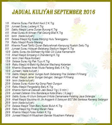 Jadual Kuliah Ustaz Azhar Idrus Bulan SEPTEMBER 2016