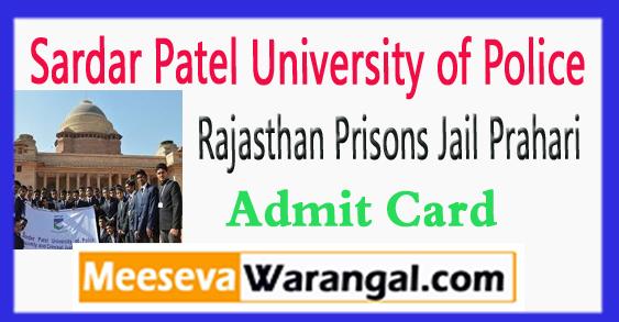 Rajasthan Jail Prahari Admit Card 2017