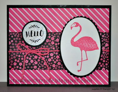 Pop of Paradise, Stampin' Up!, Stamp with Trude, Hello, greeting card, flamingo