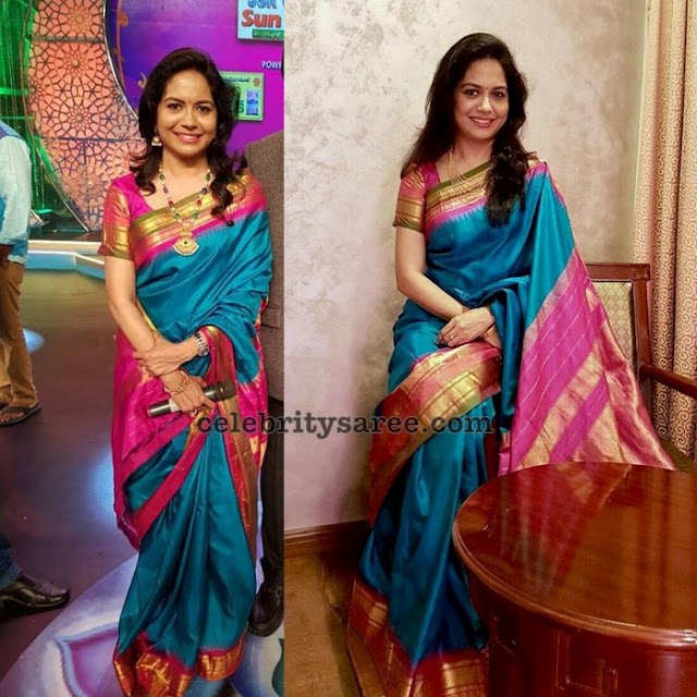 Singer Sunitha Blue Silk Saree