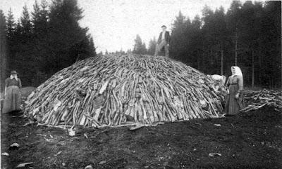 Pila de madera para hacer carbón vegetal