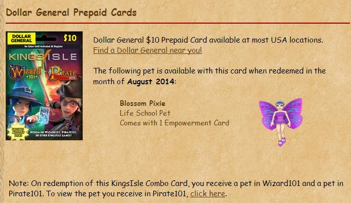 Stars of the Spiral: KingsIsle P101/W101 Combo Game Card