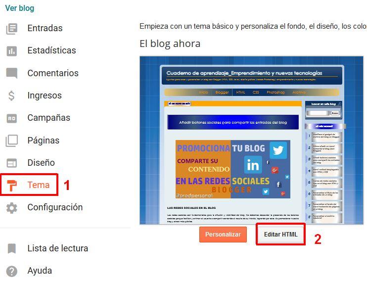 Editar HTML del Tema en Blogger
