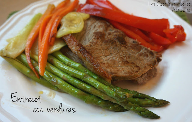 Entrecot con verduras.