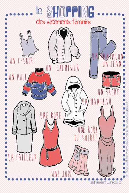 vocabulaire, les vêtements, FLE, le FLE en un 'clic', infographie