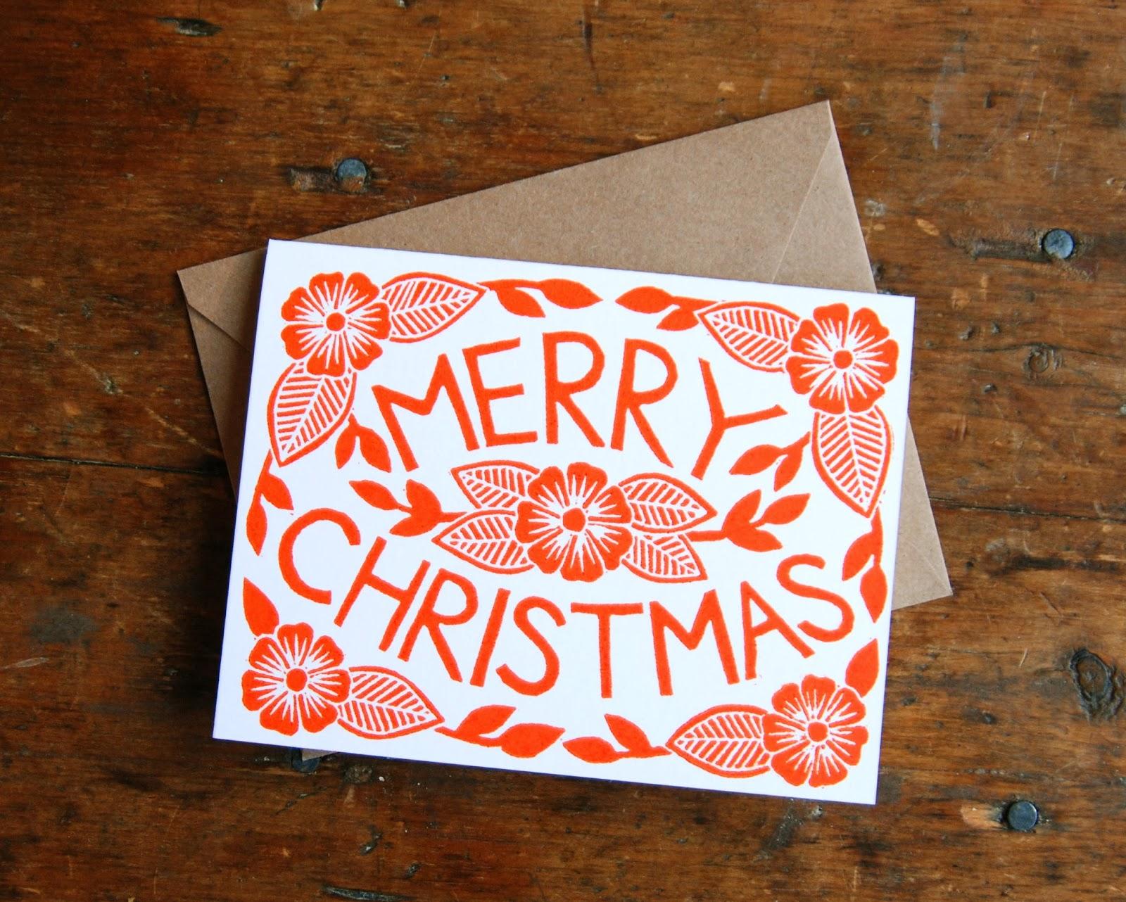 New Block Printed Holiday Cards