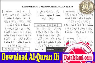Tabel Bantu Hafalan Quran Juz 30 Full Ayat