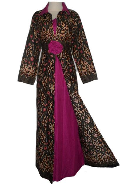 jubah ungu polos kombinasi batik hitam