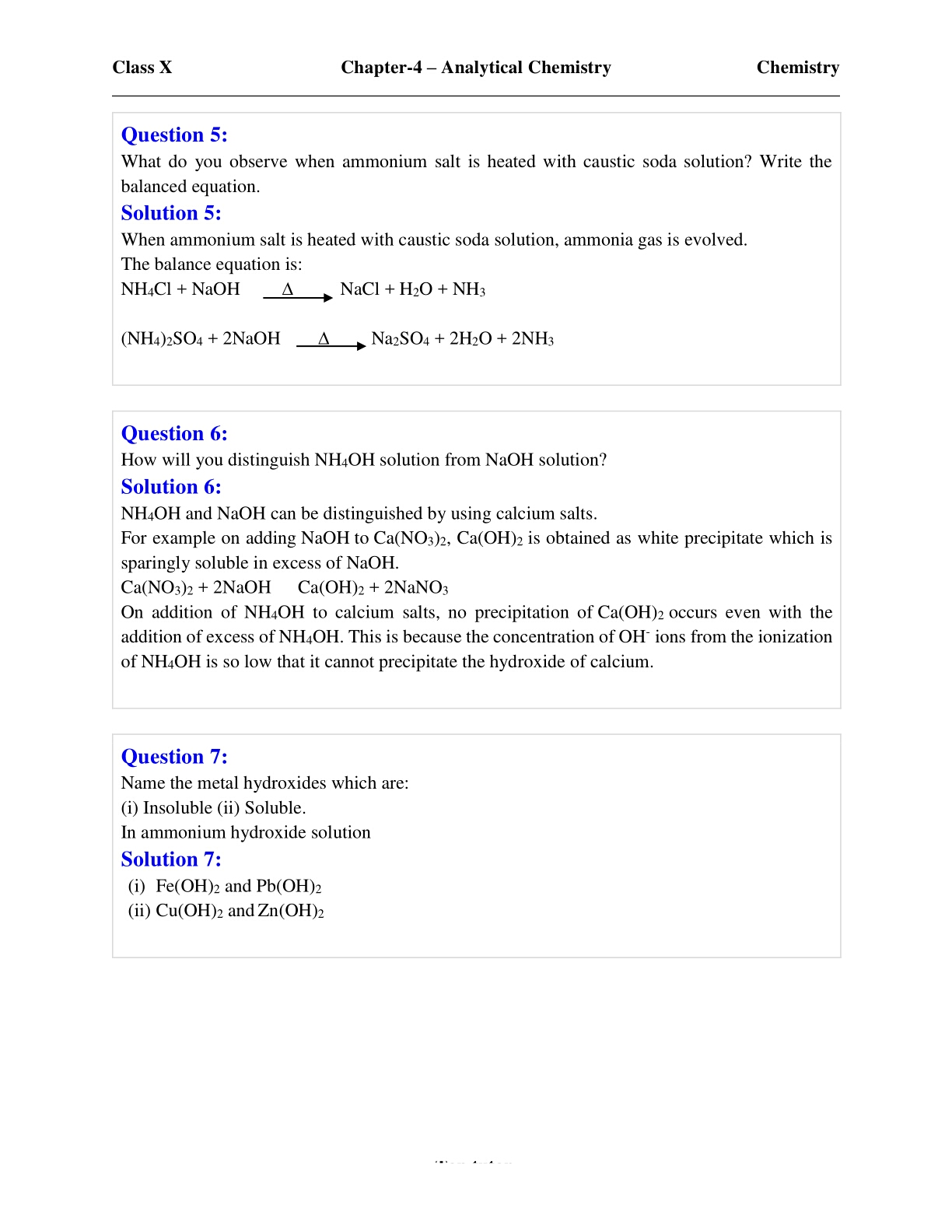 Concise Chemistry class 10 ICSE Chapter 4 Analytical Chemistry