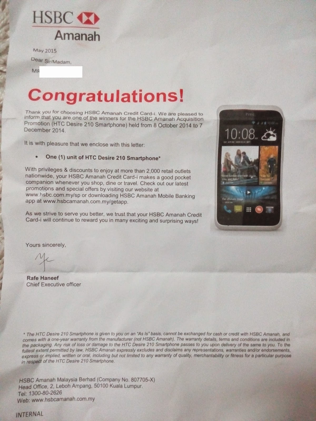 My Life: HSBC Gift: HTC Desire 210 Smartphone