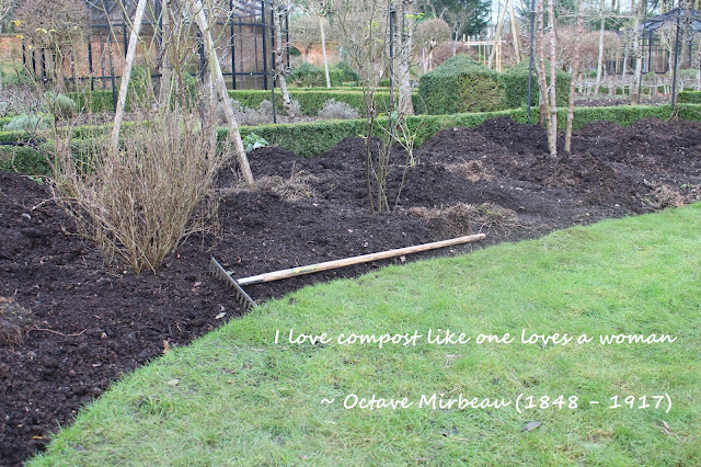 I love compost quote by Octave Mirbeau and mulched beds in progress at West Green House