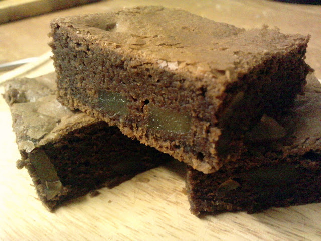Chocolate and Stem Ginger Brownies