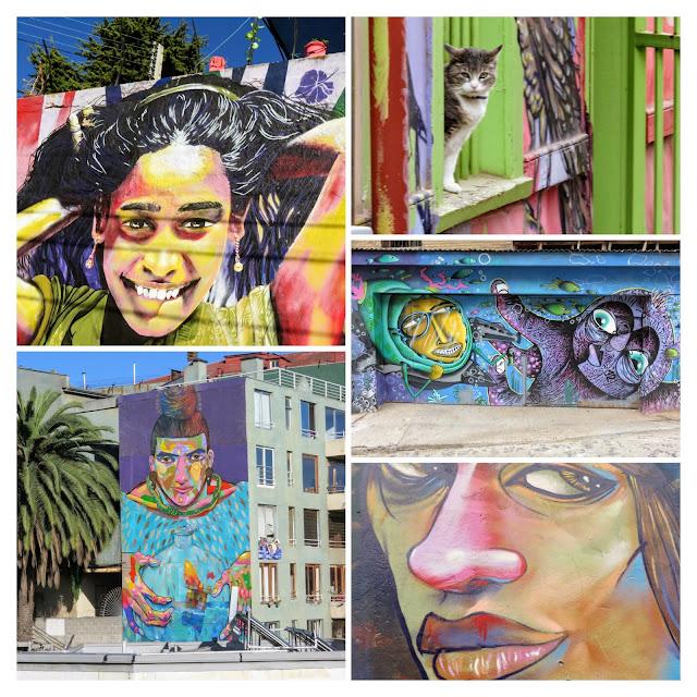 Day trip from Santiago to Valparaiso: Collage of Valparaiso street art