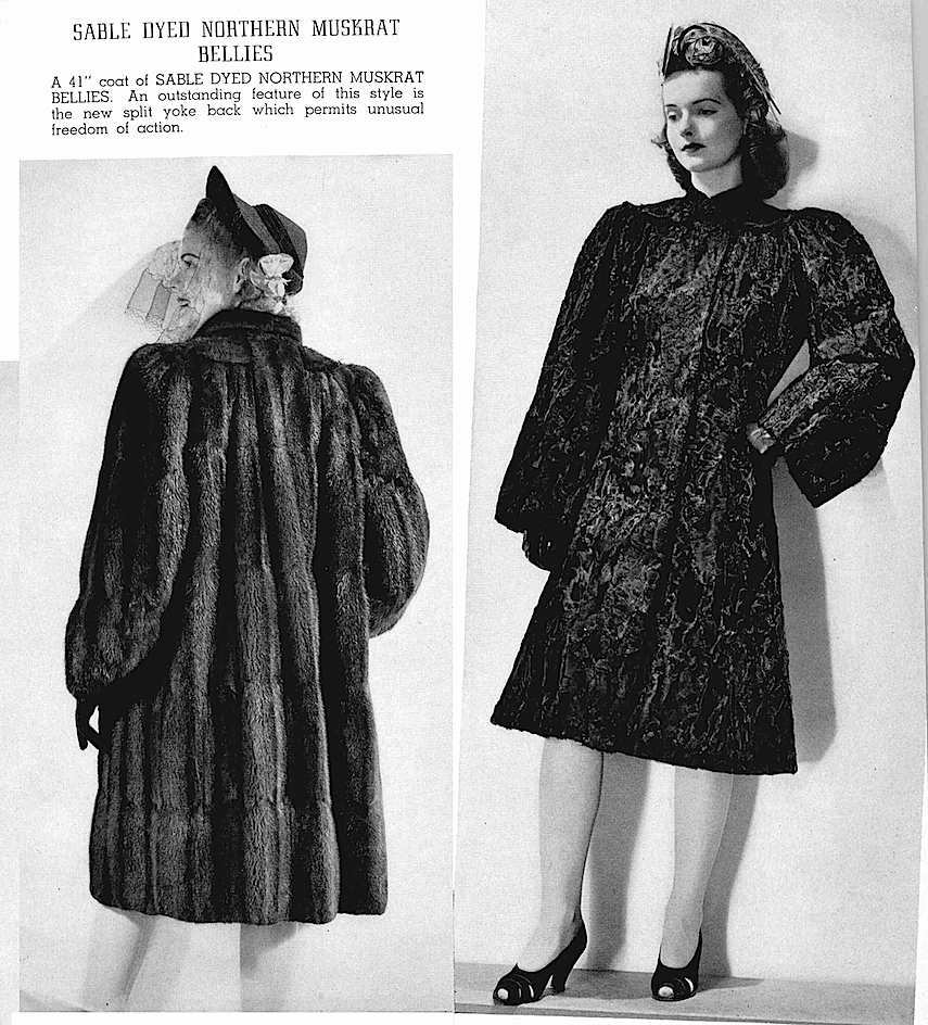 1941 furs fashion, dames, muskrat bellies