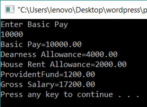 Calculate Gross Salary from given Basic Pay