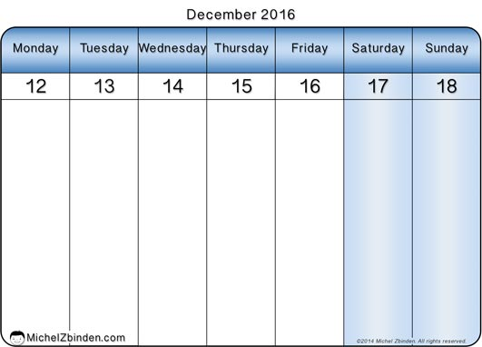 Get Printable Calendar December 2016 Weekly Calendar Templates