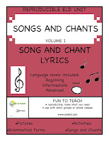 ESL & ELD Songs and Chants Volume I SING IT LOUD! SING IT CLEAR!  This 51-page collection of ELD and ESL songs and black lines are perfect for every classroom with second language learners. Open every lesson with a song or chant from this rich collection of ELD based lyrics and watch your students' fluency grow. Volume I includes 22 songs/ chants, lesson ideas and activities that will raise the oral academic language of your students to new heights. The songs and chants are sung to familiar popular songs or the lyrics are used in call backs or chant style tunes. These lyrics provide a compelling way to begin your ELD lesson while targeting complex English Structures. You and your students will enjoy these engaging and memorable lyrics.  Songs and Chants for: Possessive Pronouns Reflexive Pronouns Present Tense Questions Regular Past Tense Verbs Past Tense Questions Present Perfect Prepositions  Language levels included: Beginning Intermediate Advanced