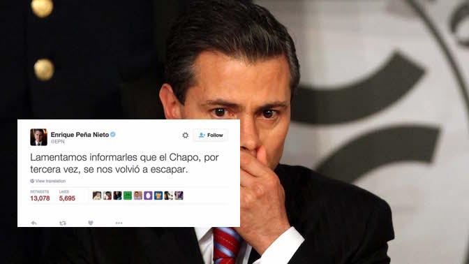 Peña anuncia fuga de Joaquin el Chapo Guzman por tercera vez