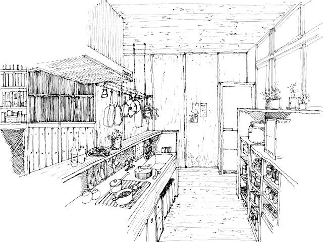 狭小都市型二世帯住宅の収納計画をとおして 子世帯 キッチンのイメージ