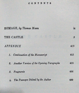 franz kafka the castle modern library table of contents