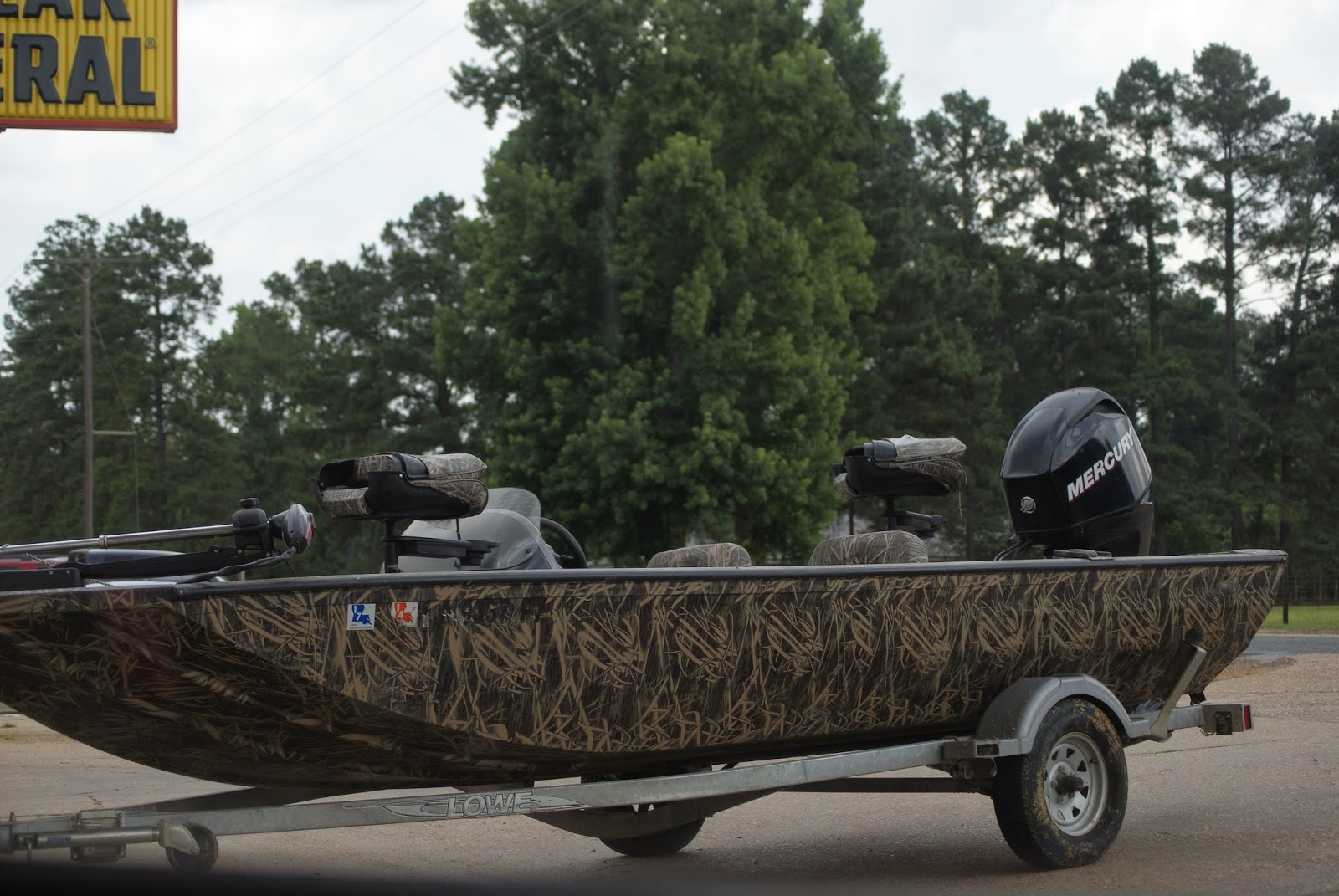 Camouflage boat and trailer