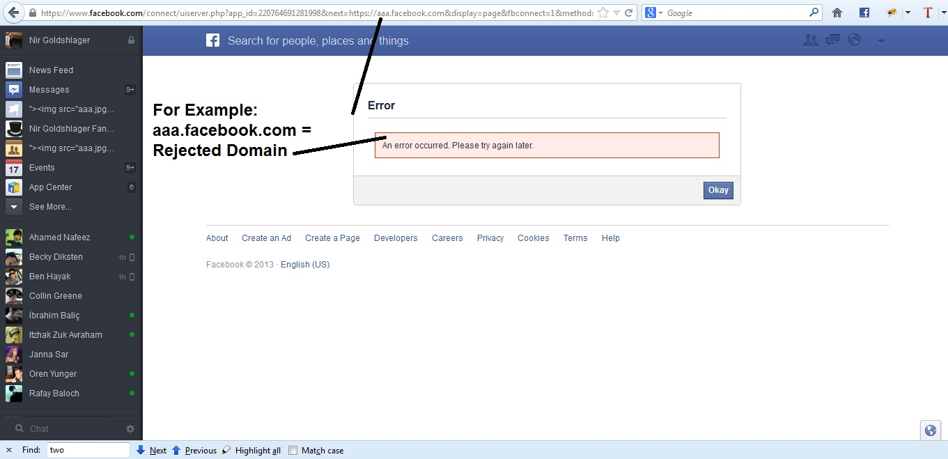 how to find valid oauth redirect uris