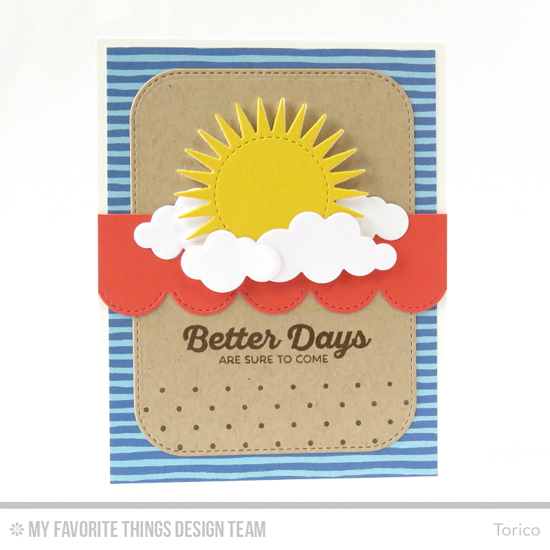 Better Days to Come Card by Torico featuring the Rainbow of Happiness stamp set, the Swiss Dots Background stamp, and the Radiant Sun, Puffy Clouds, Stitched Scallop Edges, and Stitched Rounded Rectangle STAX Die-namics #mftstamps