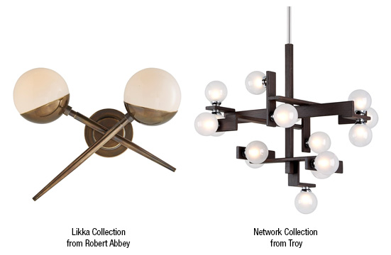 Mid-century modern lighting like the Liki Collection from Robert Abbey
