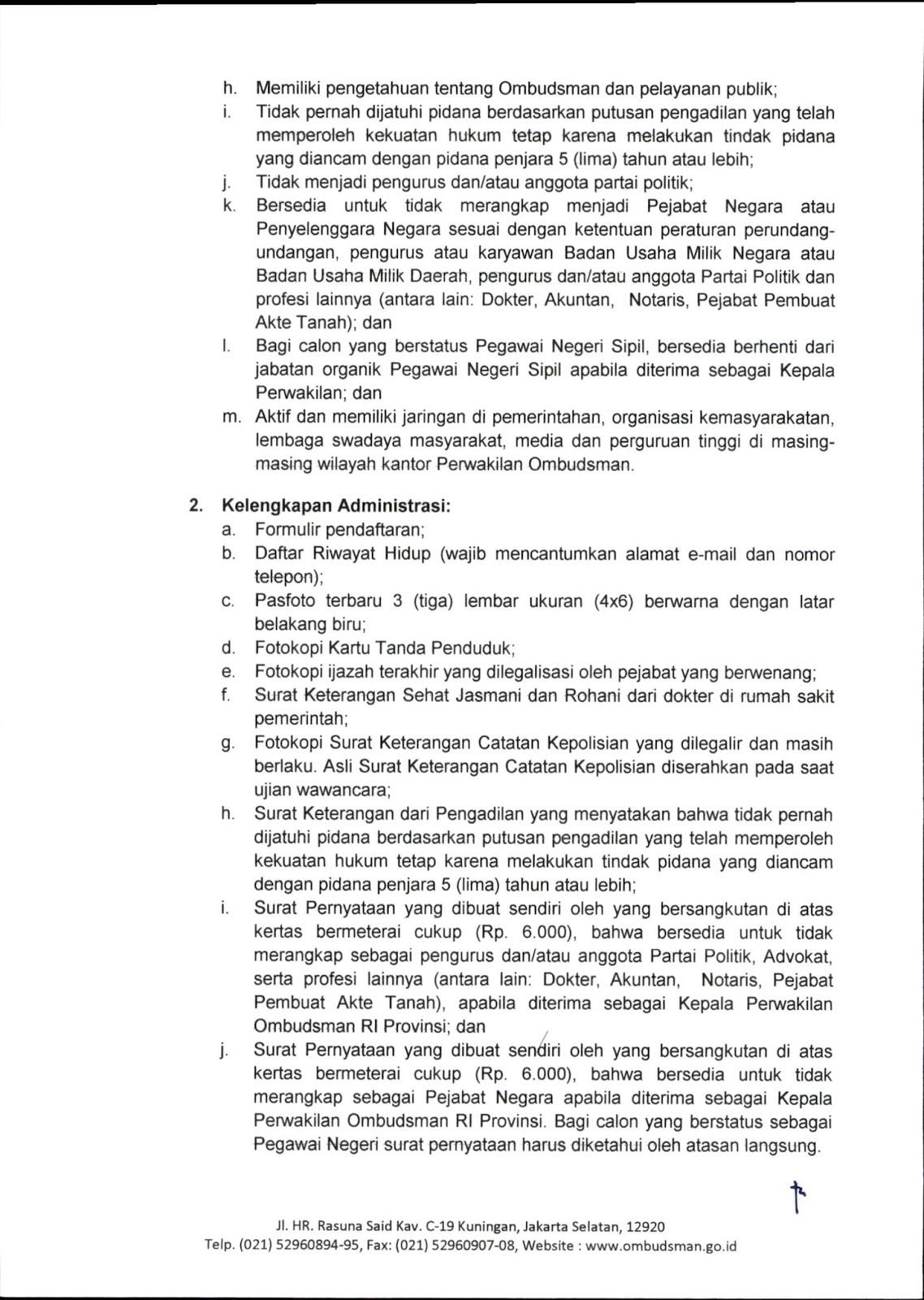 Lowongan Kerja Terbaru Ombudsman Republik Indonesia ...