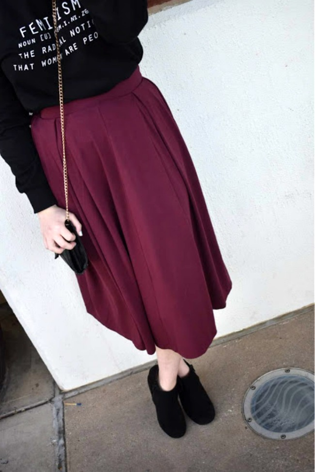 Petite Midi Skirt With Ankle Boots