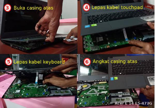 Membuka casing atas acer 14 slim untuk menambah ram laptop