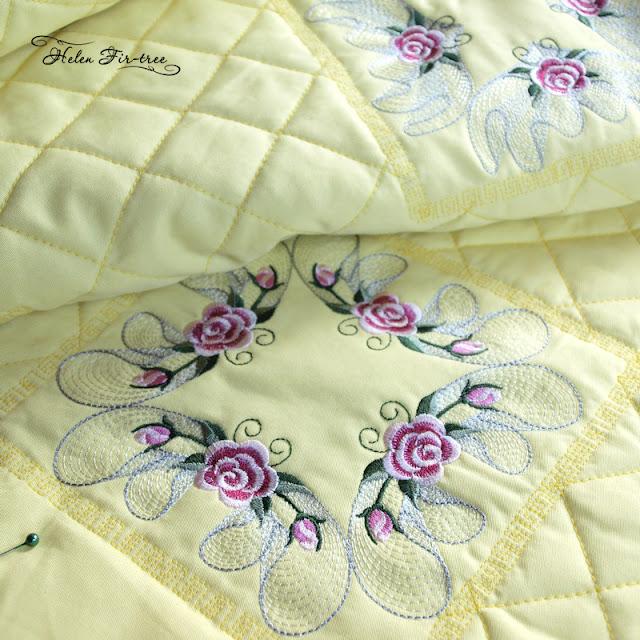 machine embroidery bedspread in roses машинная вышивка покрывало в розы