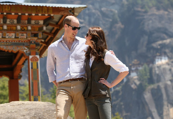 Kate Middleton and Prince William  at the start of their hike to Paro Taktsang, the Tiger's Nest monastery. Kate Middleton wore Really Wild Clothing Shooting Waistcoat