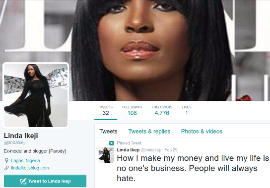 linda ikeji denies fake twitter account
