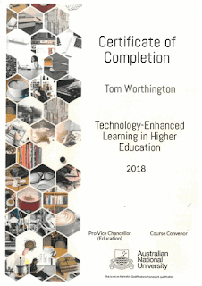 ANU TEL ED HE Certificate awarded to Tom Worthington