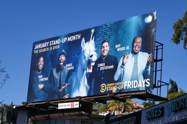 Comedy Central January StandUp unicorn billboard