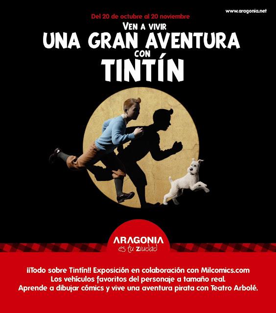 Póster de la exposición de Tintín en Zaragoza