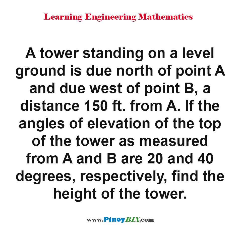 Find the height of the tower given angles of elevation of the top from A and B