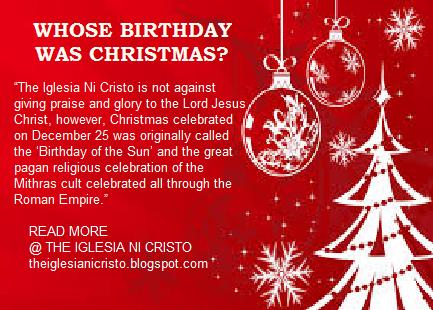 Is Christmas Pagan.The Iglesia Ni Cristo Why Iglesia Ni Cristo Does Not