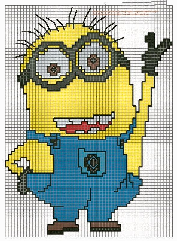 Muchos minions en punto de cruz con gr ficos - Dibujos para hacer punto de cruz ...