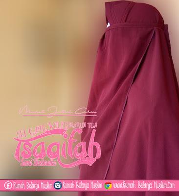 Model Jilbab Cadar Tali Set Gamis Tsaqifah Marun