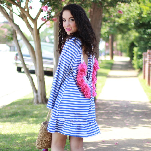 Shein Blue and White Striped Backless Tassel Dress