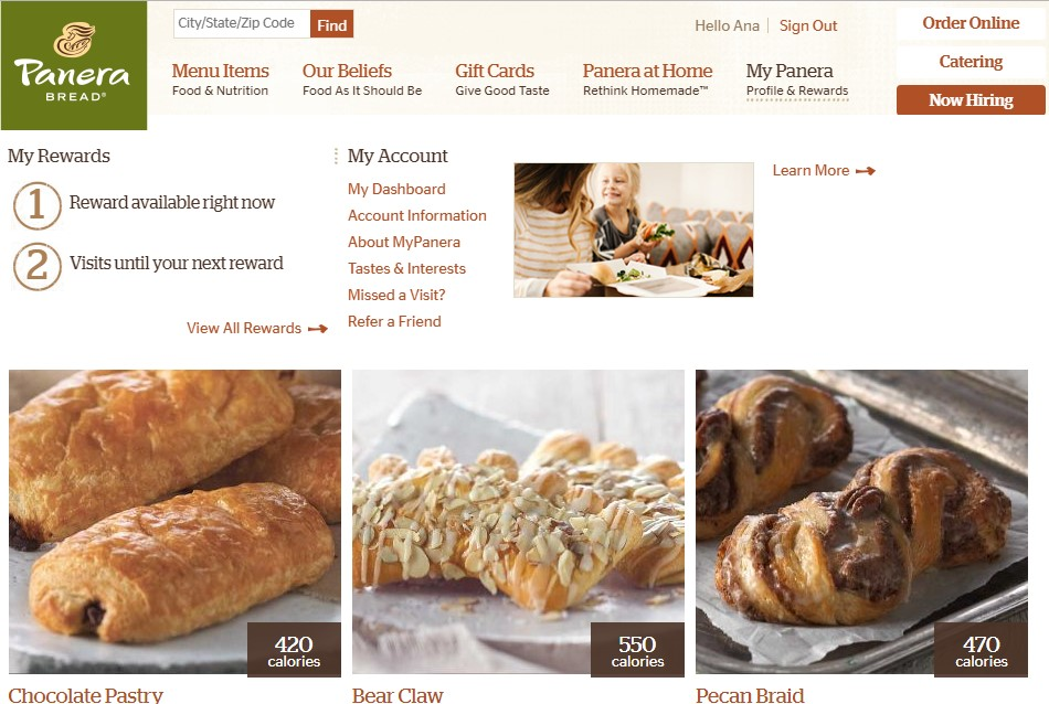 Get free pastry from Panera Bread