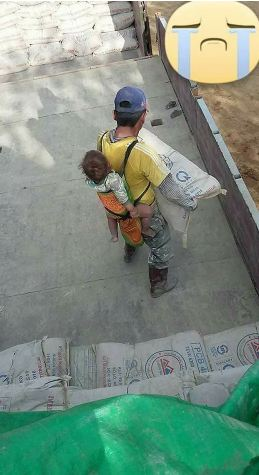 A Father's Love: This Dad Makes Sure His Son Is Protected While Working!