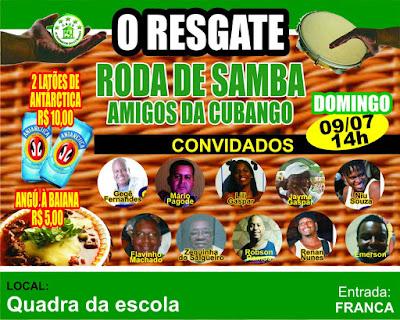Logo do evento da roda de samba do Acadêmcios do Cubango