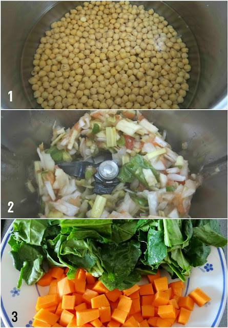 Potaje de Cuaresma con espinacas, calabaza, bacalao y garbanzos