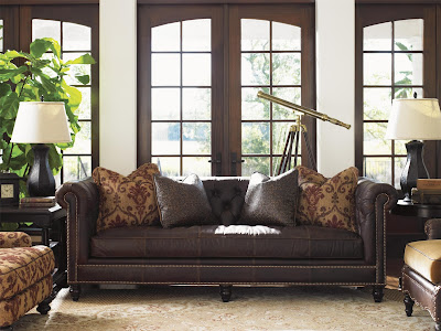 baers furniture classic brown leather sofa