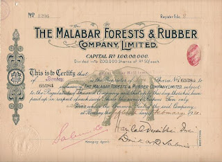 image of a share of 50 Rupees in the Indian Malabar Forests and Rubber Company